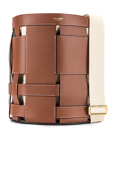 Burberry Small Foster Leather Bucket Bag In Malt Brown