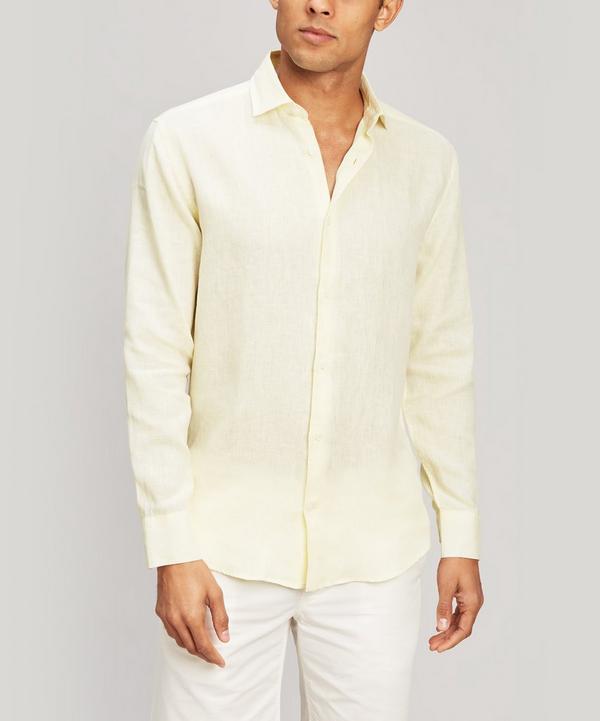 Frescobol Carioca Italian Linen Long Sleeve Shirt In Lemon Yellow
