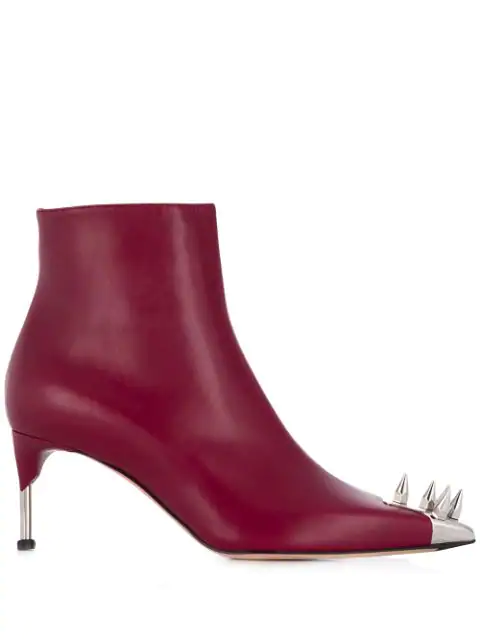 Alexander Mcqueen Black Leather Ankle Boots In Red
