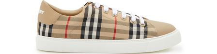 Burberry Albridge Low Sneakers In Archive Beige Calf Leather
