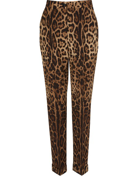 Dolce & Gabbana Leopard-Print Wool-Blend Straight-Leg Pants In Multicolor