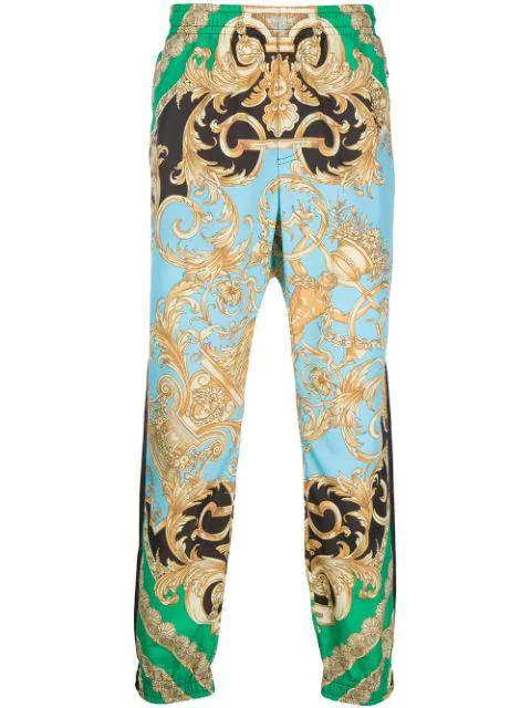 Versace Men's Classical Baroque-print Jogger Pants In Yellow
