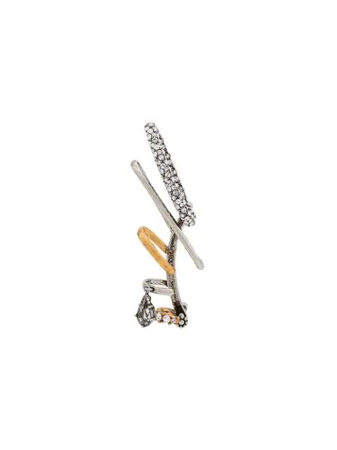 Alexander Mcqueen Embellished Ear Cuff In Silver