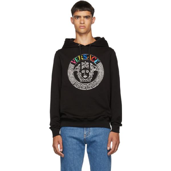 Versace Medusa Head And Rainbow Logo-embroidered Hoodie In Black