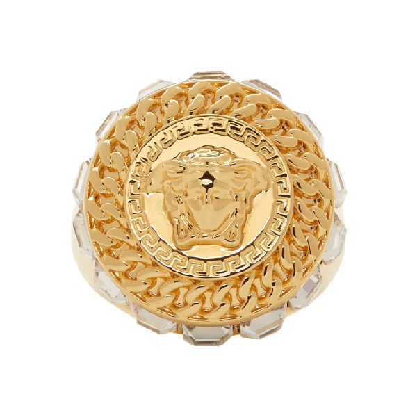 Versace Medusa Head Ring In Dco0H Gold