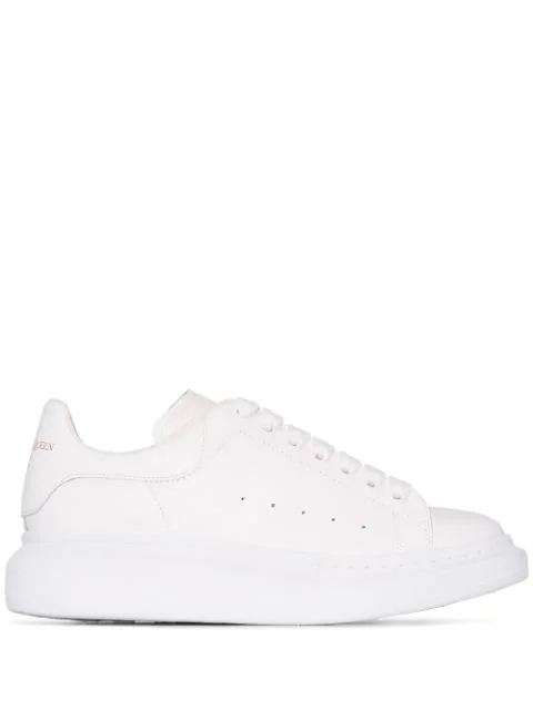 Alexander Mcqueen Glow-in-the-dark Exaggerated-sole Rubber-trimmed Leather Sneakers In 9000 White