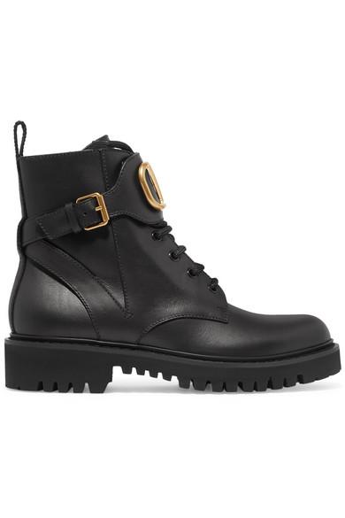Valentino Ankle Boots Combat Boots  Calfskin Logo Metallic Black