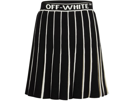 Off-white Tachnical Knit Pleated Mini Skirt In Black
