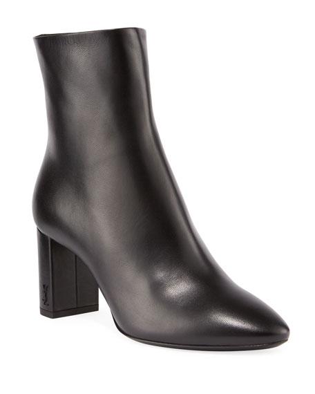 Saint Laurent Lou Pin Zip Leather Block-heel Booties In Black