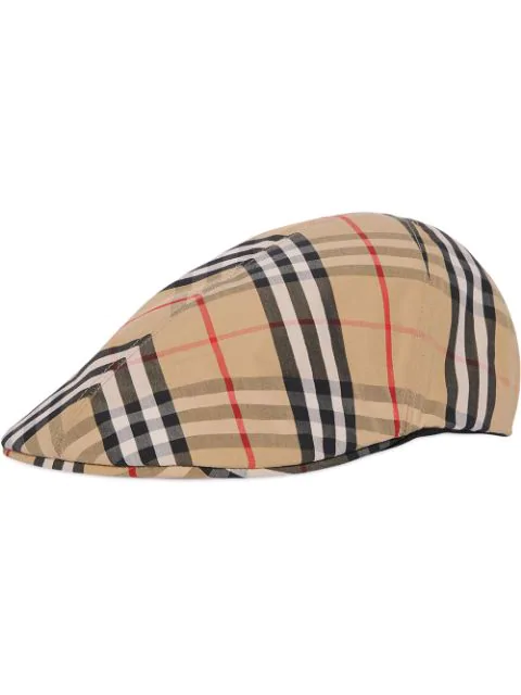 Burberry Vintage Check Cotton Flat Cap In Yellow