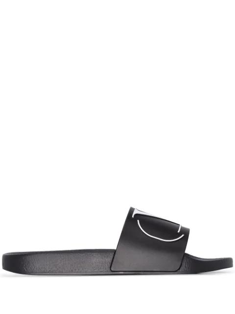 Valentino Garavani Beach Sandals V Logo  Gum Logo Black In 0ni Blk Wht