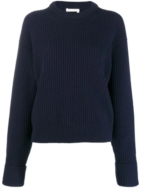 ChloÉ Chloe Navy Wool And Cashmere Sweater In 4a9 Stormy Night