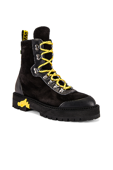 "Off-White Black ""Hiking"" Boots With Yellow Details"