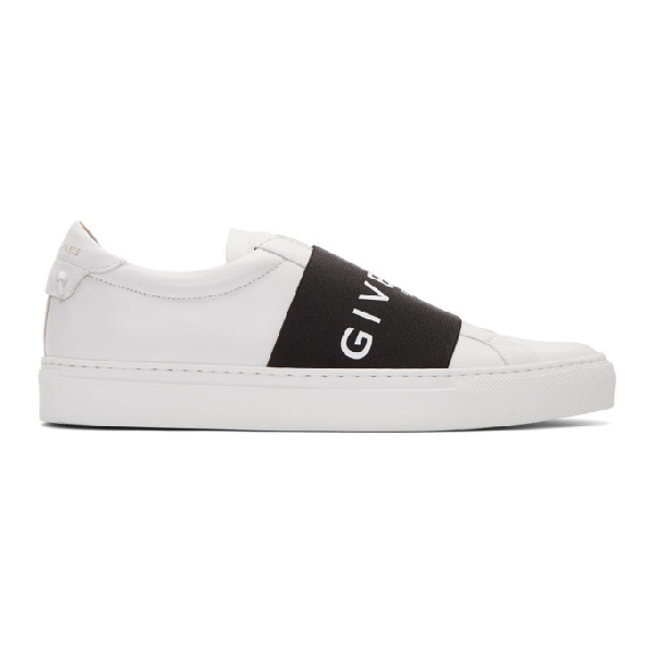 Givenchy Urban Street Leather Sneakers With Elasticated Insert And Logo In 116 Wht/blk