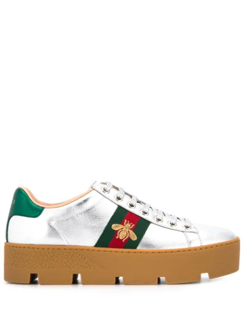 Gucci New Ace Metallic Leather Bee Thick-sole Sneakers In 8165