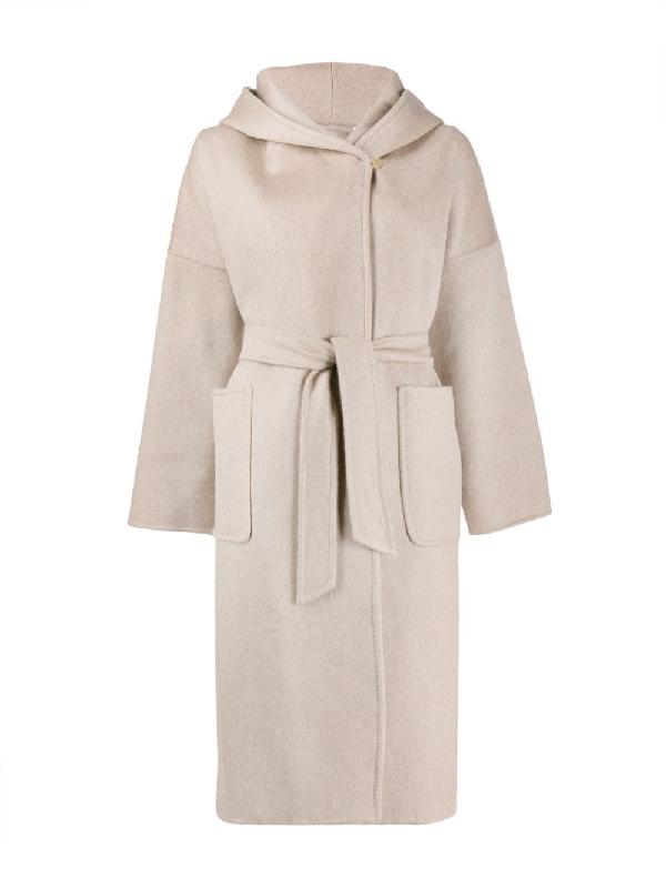Max Mara Hooded Wrap Coat In Neutrals