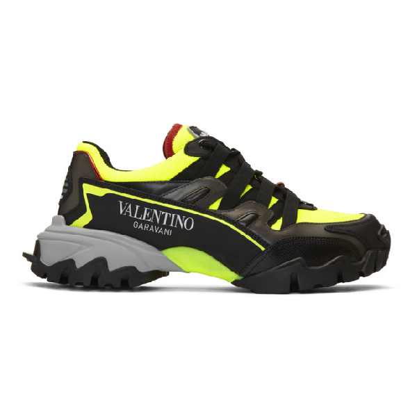 Valentino Garavani Climbers Mesh, Leather And Rubber Sneakers In Kam Nero Ne
