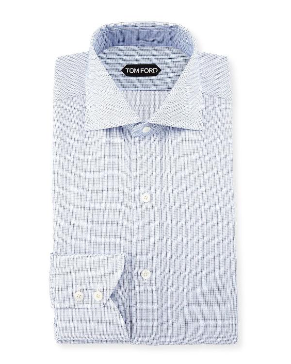 Tom Ford Tiny-dot Stripe Slim-fit Shirt, Blue