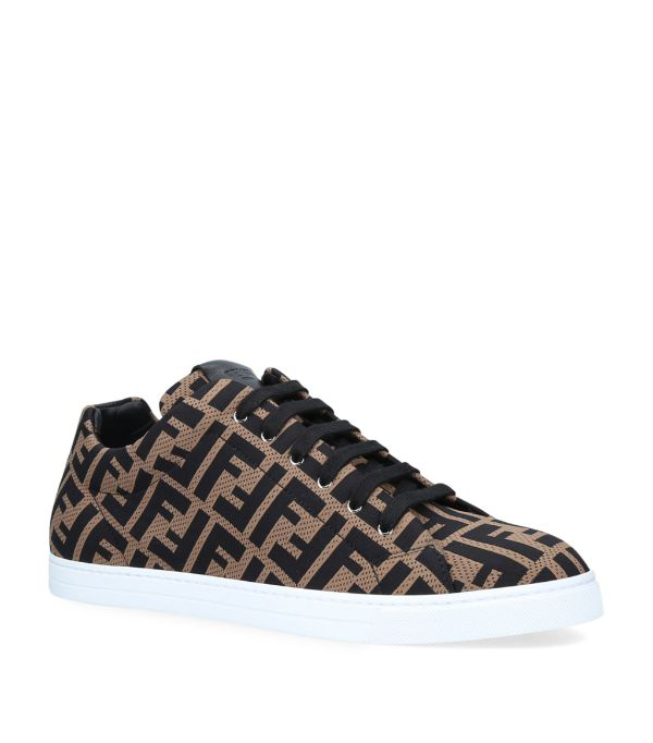 Fendi Leather-trimmed Logo-jacquard Mesh Sneakers In Brown
