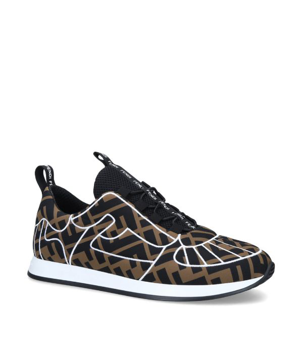 Fendi Ffreedom Patterned Low-top Sneakers In Brown ,black