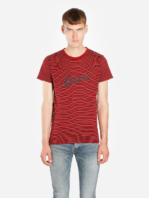 Saint Laurent Logo-print Striped Cotton-jersey T-shirt In Red