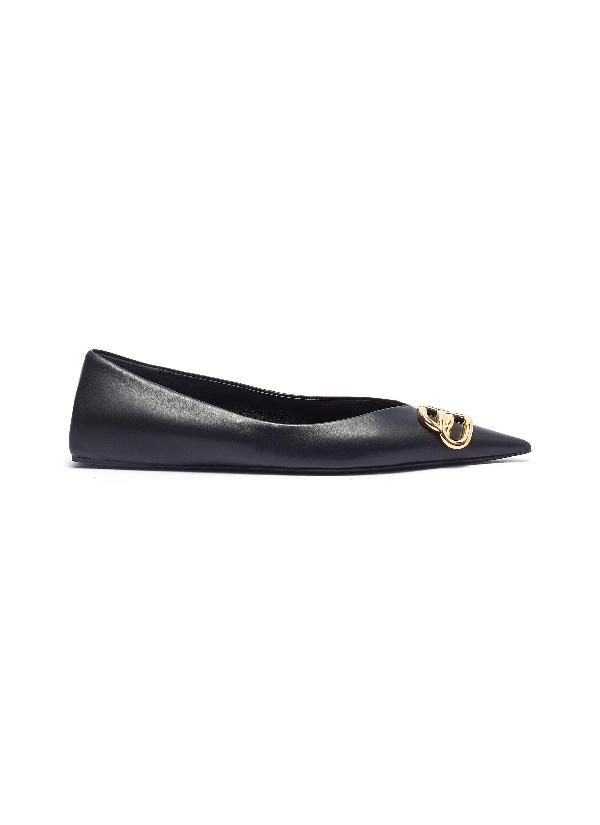Balenciaga Square Knife Logo-embellished Leather Point-toe Flats In Black