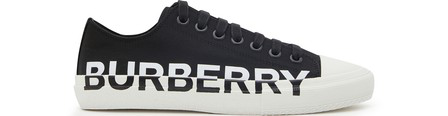 Burberry Logo Print Two-Tone Cotton Gabardine Sneakers In Black