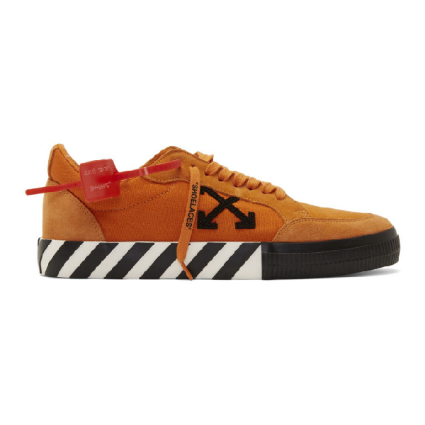 Off-White Men's Arrow Suede Sneakers With Stripes In 1910 Orange Black