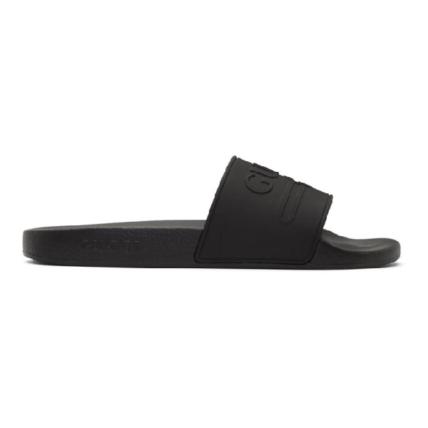 Gucci Black Vintage Gg Pool Slides