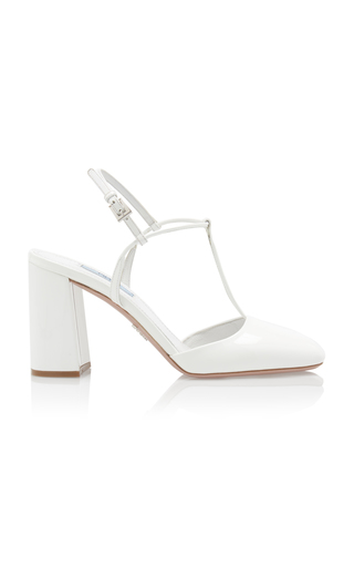 Prada Women's Leather Pumps Court Shoes High Heel In White