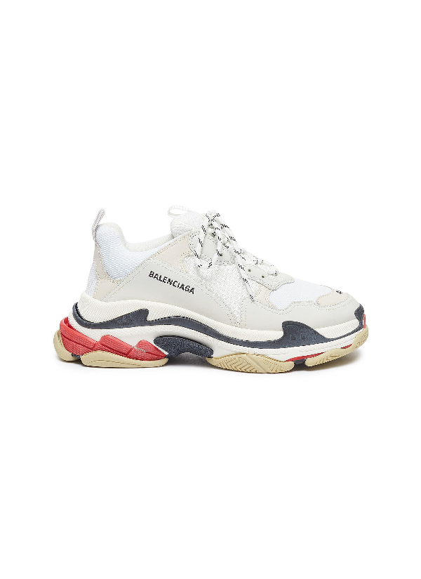 Balenciaga White Men's Red And Black Detail Triple S Sneakers