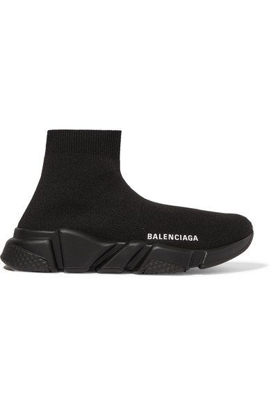 Balenciaga Speed Logo-embroidered Metallic Stretch-knit High-top Sneakers In Black