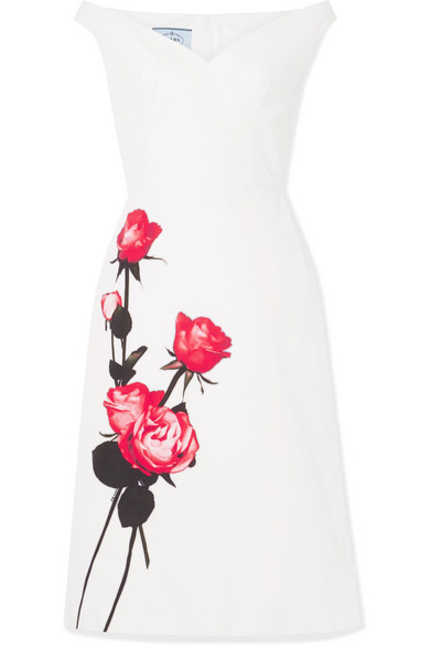 Prada Off-the-shoulder Floral-print Cotton-poplin Midi Dress In White