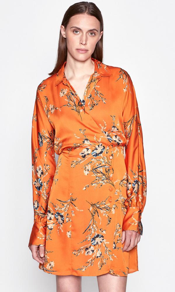 Equipment Harmon Floral Satin Wrap Dress In Autumn Maple Multi