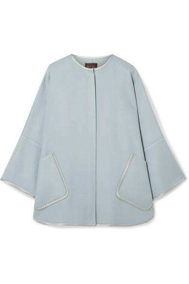 Loro Piana Silk Satin-trimmed Cashmere Cape In Sky Blue