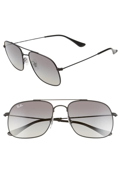 Ray Ban 56mm Gradient Square Sunglasses In Rubber Black/ Black Gradient