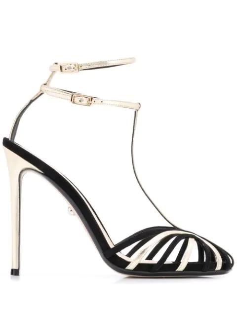 AlevÌ Stella Stiletto T-Bar Sandals In Black