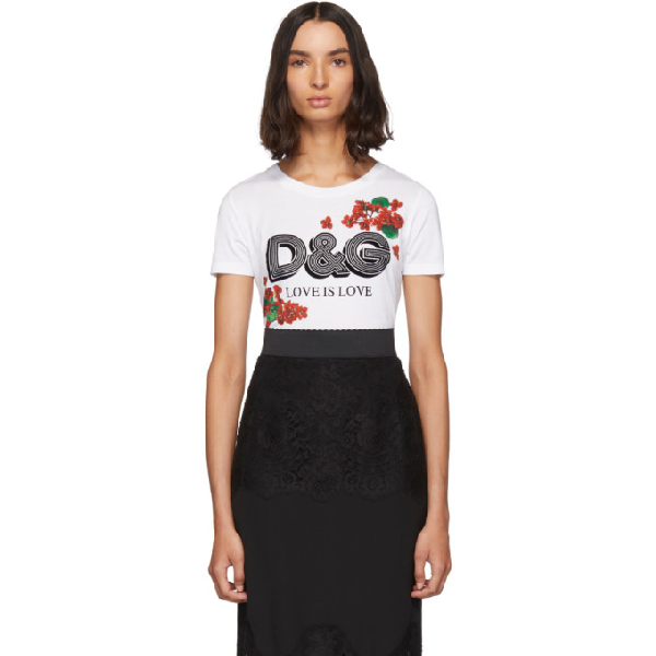 Dolce & Gabbana Floral Print And Flock Logo T-Shirt In W0800 White