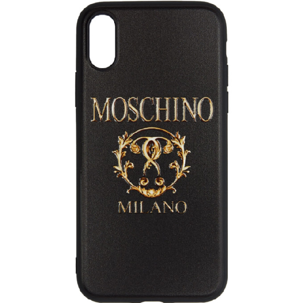 Moschino Black Textured Print Iphone X Case In A1555 Blkfa