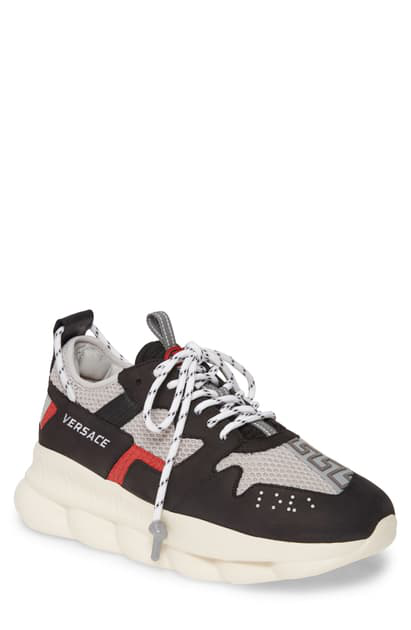 Versace Chain Reaction 2.0 Panelled Suede And Mesh Sneakers In Black