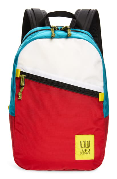 Topo Designs Light Backpack In White/ Red/ Turquoise