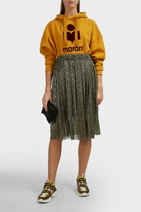 Etoile Isabel Marant Beatrice Lame Midi Skirt In Gold