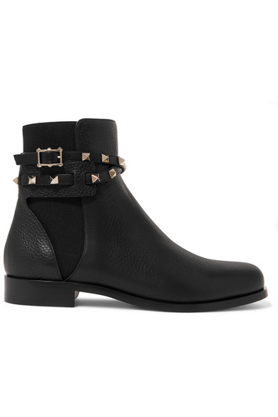 Valentino 20mm Rockstud Grained Leather Boots In Black