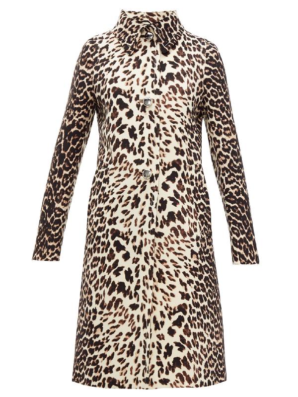 Prada Leopard-print Single-breasted Wool Coat In Brown
