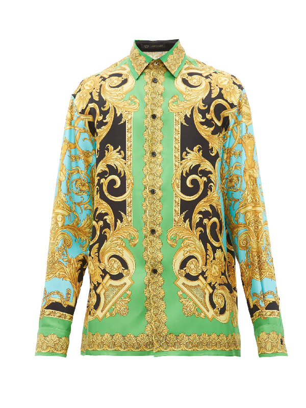 Versace Green & Blue Silk Barocco Homme Shirt In A78y Verazu