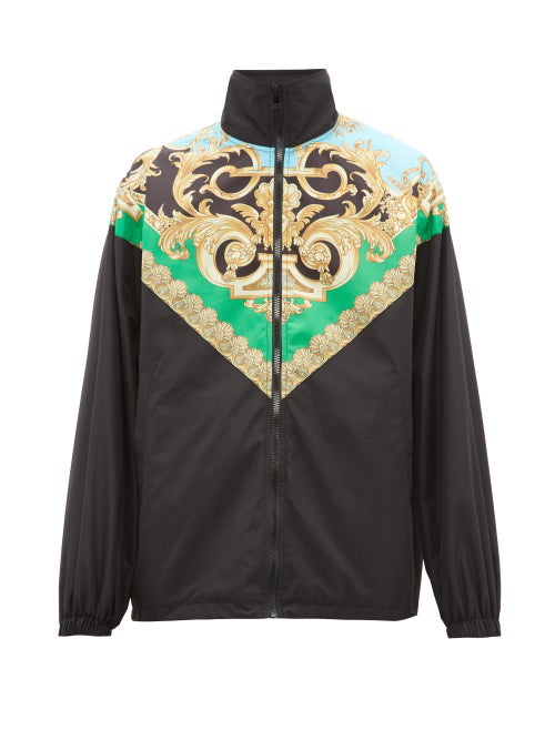 Versace Heritage Print Nylon Track Jacket In Black Green