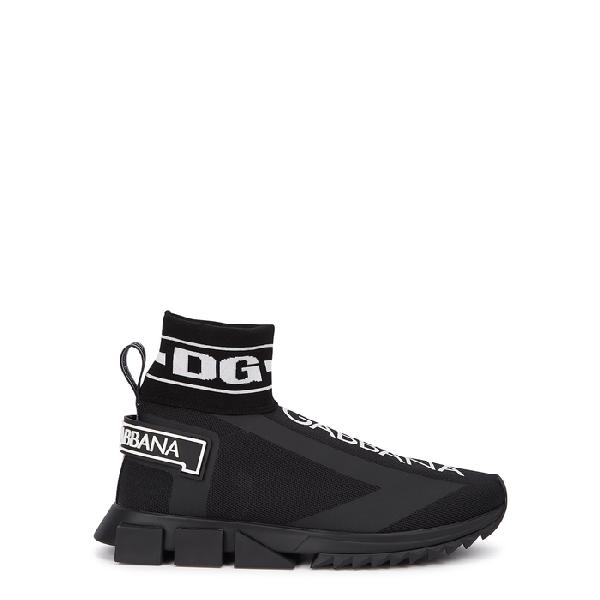 Dolce & Gabbana Sneakers Sorrento High Top In Maglina Stretch Con Logo In 8b956 Nero