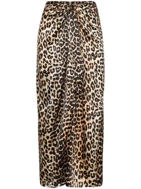 Ganni Leopard-print Silk-blend Satin Midi Skirt In Brown