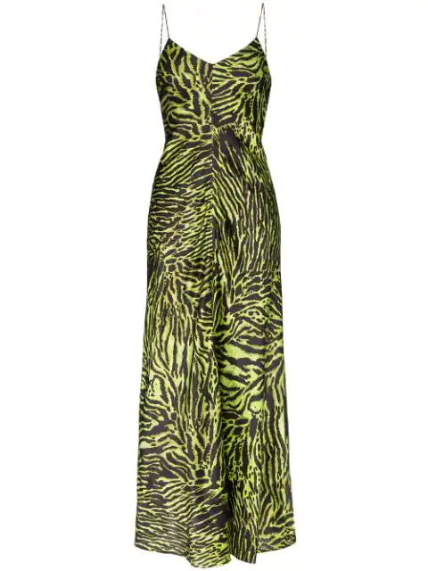 Ganni Tiger-print Silk-blend Satin Maxi Slip Dress In Green