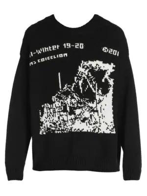 Off-white Men's Ruined Factory Graphic Crewneck Sweatshirt In Black White